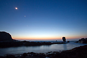 A planetary conjunction from 2012 , photographed from one of the remote raised beaches along the Islay North coast