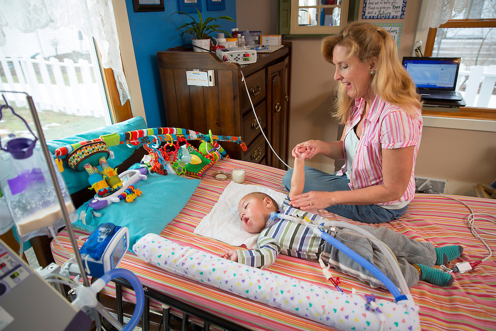 SHEBOYGAN, WISCONSIN - FEBRUARY 22   Cori Salchert tends to her adopted son Charlie on February 22, 2016 in their Sheboygan, Wisconsin home.  (Photo by Mike Roemer)