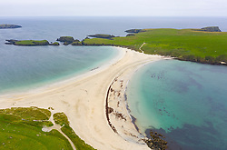 View of St Ninian's Isle and beach , called a Tombolo or Ayre, at Bigton, Dunrossness, Shetland, Scotland, UK