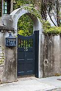 66512-00115 Blue gate in stone fence, Charleston, SC