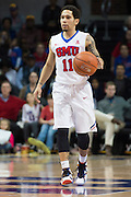 DALLAS, TX - DECEMBER 17: Nic Moore #11 of the SMU Mustangs brings the ball up court against the Hampton Pirates on December 17, 2015 at Moody Coliseum in Dallas, Texas.  (Photo by Cooper Neill/Getty Images) *** Local Caption *** Nic Moore