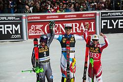 Winner ZENHAEUSERN Ramon of Switzerland, KRISTOFFERSEN Henrik of Norway and HIRSCHER Marcel of Austria celebrate during the Audi FIS Alpine Ski World Cup Men's Slalom 58th Vitranc Cup 2019 on March 10, 2019 in Podkoren, Kranjska Gora, Slovenia. Photo by Matic Ritonja / Sportida