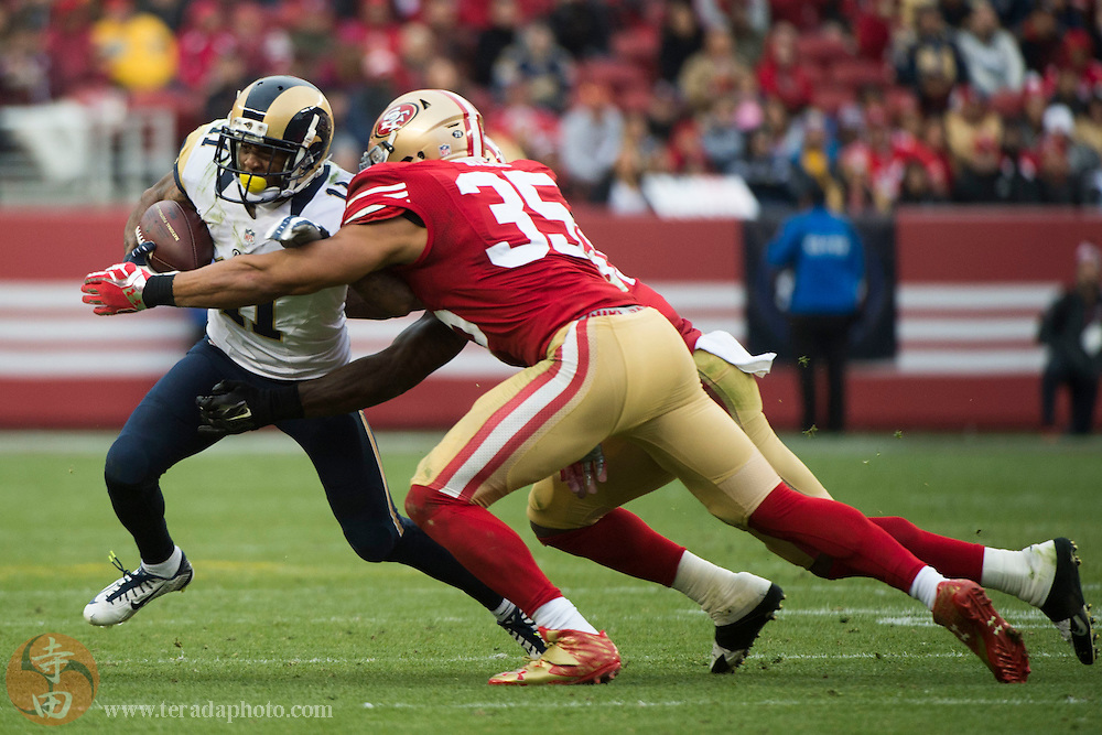 January 3, 2016; Santa Clara, CA, USA; St. Louis Rams wide receiver Tavon Austin (11) runs against San Francisco 49ers free safety Eric Reid (35) during the third quarter at Levi's Stadium. The 49ers defeated the Rams 19-16.