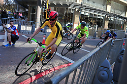 JOHANNESBURG, SOUTH AFRICA – AUGUST 13: Carl Lotter and Julius Cobbet lead riders during the Helivac Melrose Arch Criterium race on 13 August 2017 in Johannesburg, South Africa. Cyclists competed in a criterium race hosted at the popular Merose Arch, criterium racing takes place on short course within a closed circuit. The racing is hotly contested over a number of laps as riders jostle for posistion. (Photo by Dino Lloyd)