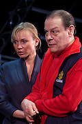 Moscow, Russia, 25/10/2007..Stalin's grandson, theatre director Alexander Burdonsky, in rehearsal with actors at the Russian Army Theatre, formerly the Soviet Army Theatre.