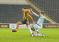 Hull City's Mallik Wilks shot goes wide under pressure from Rochdale's Eoghan O'Connelll<br /> <br /> Photographer Lee Parker/CameraSport<br /> <br /> The EFL Sky Bet League One - Hull City v Rochdale - Tuesday 2nd March 2021 - KCOM Stadium - Kingston upon Hull<br /> <br /> World Copyright © 2021 CameraSport. All rights reserved. 43 Linden Ave. Countesthorpe. Leicester. England. LE8 5PG - Tel: +44 (0) 116 277 4147 - admin@camerasport.com - www.camerasport.com