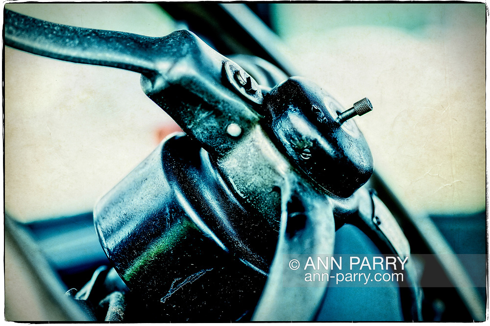Old Westbury, New York, USA. June 2, 2019. Steering wheel of a 1925 Model T Ford is seen in closeup at the 53rd Annual Spring Meet Antique Car Show, sponsored by the Greater NY Region (NYGR) of the Antique Automobile Club of America (AACA), at Old Westbury Gardens, a Long Island Gold Coast estate. The vintage car, owned by Scott Gramlich, of Baldwin, won two awards - Oldest Car and Best Model T.