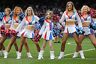 the Crystal Cheerleaders with a young fan performing before k/o. Barclays Premier League match, Crystal Palace v Stoke City at Selhurst Park in London on Saturday 7th May 2016. pic by John Patrick Fletcher, Andrew Orchard sports photography.
