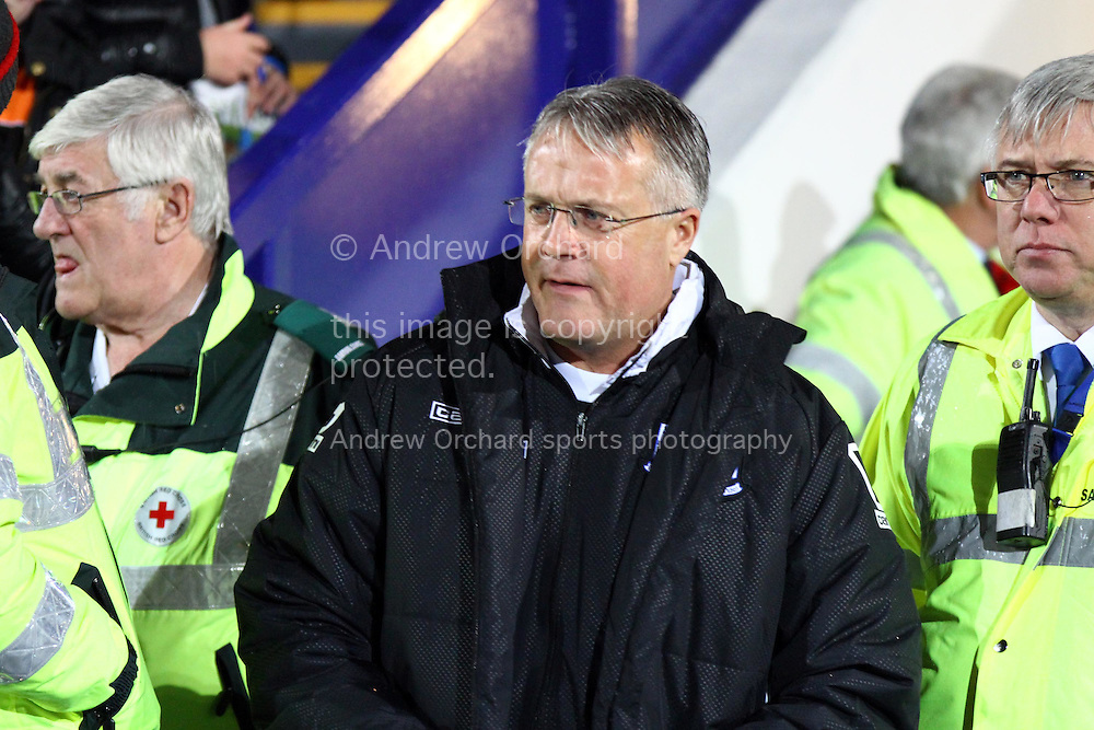 Tranmere Rovers Manager Micky Adams looks on prior to kick off. The FA Cup, 2nd round replay, Tranmere Rovers v Oxford United at Prenton Park in Birkenhead, England on Tuesday 16th December 2014.<br /> pic by Chris Stading, Andrew Orchard sports photography.