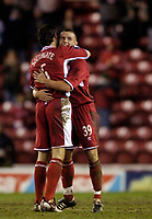 Photo: Jed Wee.<br /> Middlesbrough v Stuttgart. UEFA Cup. 23/02/2006.<br /> <br /> Middlesbrough's Lee Cattermole (R) celebrates with Gareth Southgate at the end of the game.