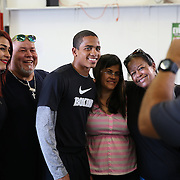 ORLANDO, FL - Felix Verdejo (center) poses with fans during his media day workout at the Orlando Sports Martial Arts Academy on October 2, 2014 in Orlando, Florida. (Photo by Alex Menendez/Getty Images) *** Local Caption *** Felix Verdejo