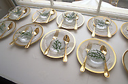 A detail of presidential China for the State Dinner held at the White House.
