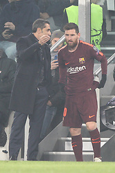 November 22, 2017 - Turin, Italy - Barcelona coach Ernesto Valverde talks with Barcelona forward Lionel Messi (10) during the Uefa Champions League group stage football match n.5 JUVENTUS - BARCELONA on 22/11/2017 at the Allianz Stadium in Turin, Italy. (Credit Image: © Matteo Bottanelli/NurPhoto via ZUMA Press)