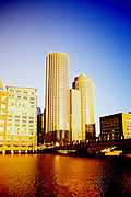 Image of the Boston skyline of downtown buildings and Fort Point Channel, Boston, Massachusetts, New England by Andrea Wells