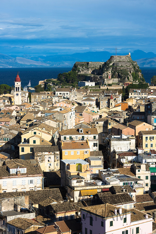Panorama of Kerkyra, Corfu Town with Old Fort, The Paleo Frourio in Corfu, , Greece