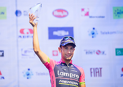 Third placed Diego Ulissi of Lampre-Merida at flower ceremony after the Stage 1 of 21st Tour of Slovenia 2014 - Time Trial 8,8 km cycling race in Ljubljana, on June 19, 2014 in Slovenia. Photo By Vid Ponikvar / Sportida