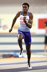 Great Britain's Ojie Edoburun during the Men's 60m semi final during day two of the European Indoor Athletics Championships at the Emirates Arena, Glasgow.