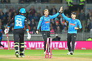 Wicket - Danny Briggs of Sussex celebrates taking the wicket of Joe Clarke of Worcestershire during the final of the Vitality T20 Finals Day 2018 match between Worcestershire Rapids and Sussex Sharks at Edgbaston, Birmingham, United Kingdom on 15 September 2018.