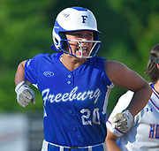 Freeburg baserunner Maleah Blomenkamp yells after hitting a triple late in the game. Freeburg defeated Nashville in the Class 2A sectional softball title game at Nashville High School in Nashville, IL on Thursday June 10, 2021. Tim Vizer/Special to STLhighschoolsports.com.