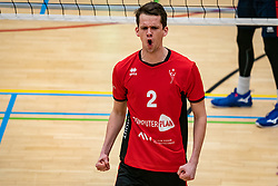 Lucas Vroom of VCN celebrate during the league match ComputerPlan VCN - RECO ZVH on January 16, 2021 in Capelle aan de IJssel.