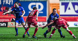 Leinster's Bryan Byrne is tackled by Scarlets' Josh Macleod<br /> <br /> Photographer Craig Thomas/Replay Images<br /> <br /> Guinness PRO14 Round 17 - Scarlets v Leinster - Friday 9th March 2018 - Parc Y Scarlets - Llanelli<br /> <br /> World Copyright © Replay Images . All rights reserved. info@replayimages.co.uk - http://replayimages.co.uk