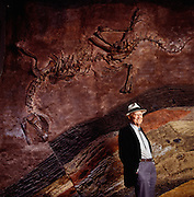 "Octogenarian bone hunter Same Welles, researcher at the University of California at Berkeley, with a cast of Dilophosaurus, the ""double crested reptile,"" a Jurassic-aged carnivorous dinosaur he found on a Navajo Reservation."