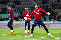 Goalkeepers, Fraser Forster, Joe Hart and Jordan Pickford of England warm up - Mandatory by-line: Robbie Stephenson/JMP - 11/10/2016 - FOOTBALL - RSC Stozice - Ljubljana, England - Slovenia v England - World Cup European Qualifier