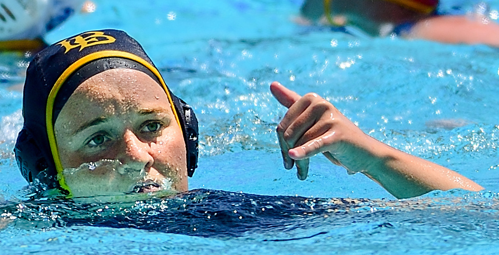 4/27/18 --- CSULB attacker Tori Morrissey celebrates after scoring a goal in the first quarter of Long Beach State's 9-6 victory over UCSB in the first round of the 2018 Big West Conference Women's Water Polo Tournament, UC Irvine Aquatics Center, Irvine, CA<br /> <br /> Photo by Michel Lim / Sports Shooter Academy