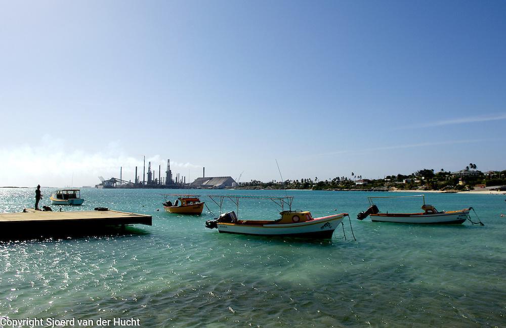 Fisherman boats near Baby Beach and the refinery, Aruba.<br /> Vissersbootjes vlak bij Baby Beach en de raffinaderij, Aruba