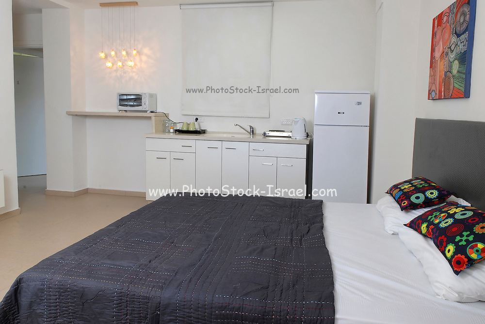 One Room studio apartment with bed and kitchenette in view