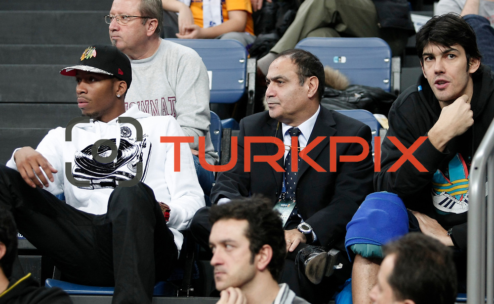 Anadolu Efes's Terence Kinsey (L) and Kerem Gonlum (R) during their Turkish Basketball League match Anadolu Efes between Trabzonspor at Sinan Erdem Arena in Istanbul, Turkey, Saturday, December 10, 2011. Photo by TURKPIX