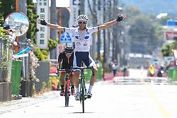 May 24, 2018 - Japan - French rider Thomas Lebas from Kinan Cycling Team wins Minami Shinshu stage, 123.6km on Shimohisakata Circuit race, the fifth stage of Tour of Japan 2018. Jorge Camilo Castiblanco Cubides from Illuminate Team finishes second, and the main group finishes 1 minute and 19 seconds behind the winner. Thomas Lebas takes the Race Leader Green Jersey with three stages to go..On Thursday, May 24, 2018, in Lida, Nagano Prefecture, Japan. (Credit Image: © Artur Widak/NurPhoto via ZUMA Press)