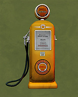 An isolated Shell gas station pump. The level of detail in this piece is simply astonishing, particularly in terms of the Shell Gasoline pump.<br />
