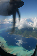 Tahaa from airplane, French Polynesia<br />