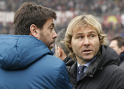 February 18, 2018 - Turin, Italy - Andrea Agnelli and Pavel Nedved during the Serie A match between Torino FC and Juventus at Stadio Olimpico di Torino on February 18, 2018 in Turin, Italy. (Credit Image: © Loris Roselli/NurPhoto via ZUMA Press)