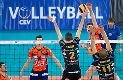 Alen Pajenk of Macerata vs Uros Kovacevic of ACH during volleyball match between ACH Volley and Lube Banca Marche Macerata (ITA) in 5th Leg of Pool D of 2013 CEV Champions League on December 5, 2012 in Arena Stozice, Ljubljana, Slovenia. ACH defeated Macerata 3-1. (Photo By Vid Ponikvar / Sportida)