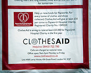 Plastic collection bag for Clothes Aid charity, UK