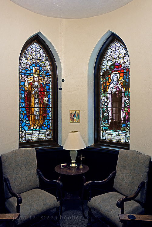 Windows 11 and 12 on plan. <br /> Originally called the Chapel of the Little Flower, this room was later used as the baptistry, and is now a meeting room. <br /> <br /> Holy Redeemer Catholic Church, Bar Harbor, Maine.