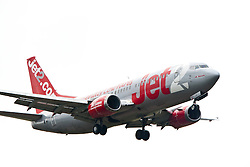 The Jet2 plane with the name Jet2 Newcastle on approach to Edinburgh airport..©Pic : Michael Schofield.