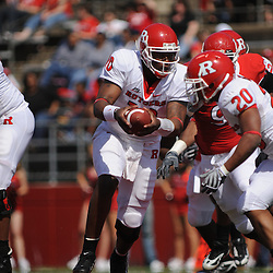 Apr 18, 2009; Piscataway, NJ, USA; Rutgers QB D.C. Jefferson hands the ball off to RB Ben Boursiquot during the second half of Rutgers' Scarlet and White spring football scrimmage.