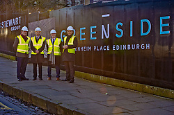 Pictured: Chris Stewart and Keith Mackie (Craig Stewart Group) Kevin Stewart and Chris Kerr, project manager of Greenside House<br /> When visiting Greenside House, a newly redevolped 36,000 square feet of Grade A office accommodation, in Edinburgh today  Housing minister Kevin Stewart unveiled details of an GBP8.9 million award to refurbish office space.<br /> <br /> Ger Harley | EEm 28 February 2017