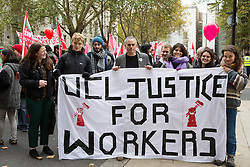 London, UK. 30th October, 2018. Jonathan Bartley, co-leader of the Green Party, joins members and supporters of the Independent Workers of Great Britain (IWGB) trade union marching together with other precarious workers from the offices of Transport for London to the University of London via the Court of Appeal in support of Uber drivers who are seeking employment rights. The Court of Appeal will today hear an appeal by Uber against a ruling that its drivers are employees rather than self-employed workers.