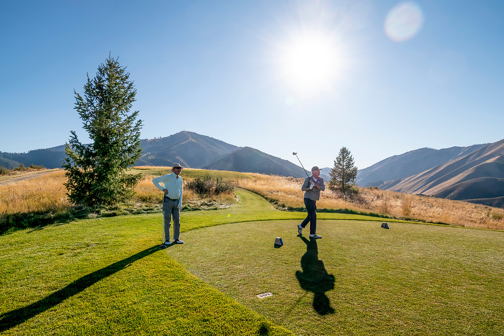 Late Afternoon Golf on Sun Valley's White Cloud 9 Course with Baldy Mountain looming in background from the Par 5 #5 Hole.  Licensing and Open Edition Prints.