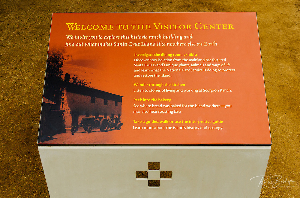 Visitor Center sign at Scorpion Ranch, Santa Cruz Island, Channel Islands National Park, California USA