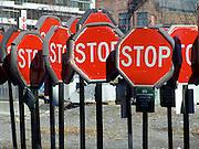 stop signs at a storage depot