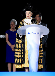 Lord Mayor of Birmingham Councillor Anne Underwood makes a speech as part of the handover ceremony during the Closing Ceremony for the 2018 Commonwealth Games at the Carrara Stadium in the Gold Coast, Australia.