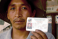 LIke every others coca grower, Abel Alarcon is member of a local union, Adepcoca is the one of Sur Yungas area. his card is a pass for to bring coca to the market, otherwise, withouta card, he can be accused of narcotraffic..the unon card is also a sign of political affiliation. The coca growers, cocaleros, are a grat part of national change leaded by Evo Morales, nowadays blovian president but before a coca grower