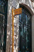 tram stop sign, Largo do Calhariz, Lisbon, Portugal