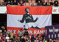 Football - 2018 / 2019 Premier League - Arsenal vs. Brighton & Hove Albion<br /> <br /> On the day of hisn teams last home game a banner proclaiming ONE AARON RAMSEY hangs from the stand <br /> at The Emirates.<br /> <br /> COLORSPORT/DANIEL BEARHAM