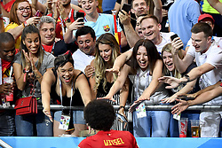 July 2, 2018 - Rostov, RUSSIA - Belgium's Axel Witsel celebrates with his wife family in the stands after a round of 16 game between Belgian national soccer team the Red Devils and Japan in Rostov, Russia, Monday 02 July 2018. ..BELGA PHOTO DIRK WAEM (Credit Image: © Dirk Waem/Belga via ZUMA Press)